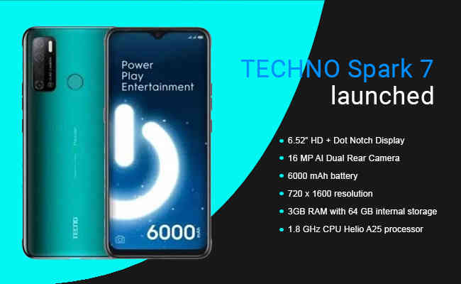 TECNO unveils SPARK 7 6000mAh battery and 16MP AI Dual rear ca