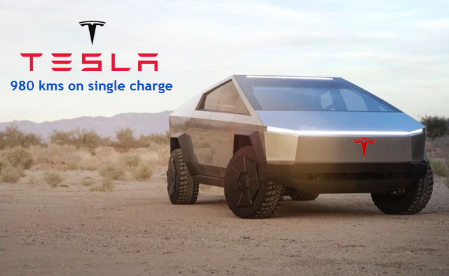 Tesla Cybertruck to get patent plans to travel 980 kms on single charge